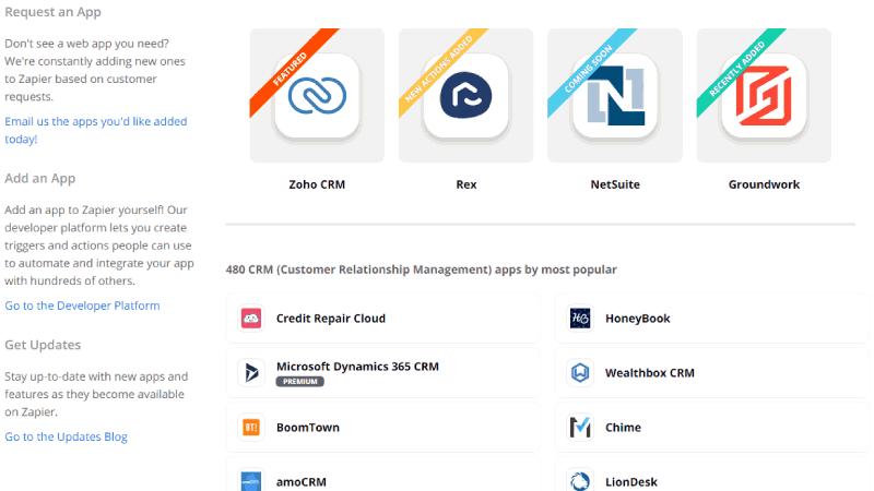 Integrações Zapier + CRM de diversos fornecedores com chatbot ChatGuru